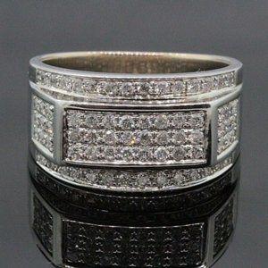 Large 1.40ct Men's 10K Gold Real Diamond 3D Pinky